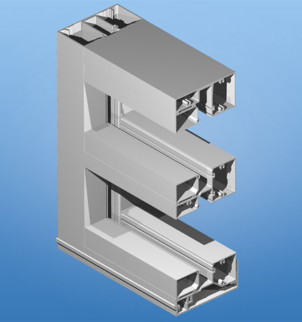 unitized system curtain wall / aluminum and glass