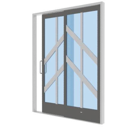 sliding patio door / aluminum / double-glazed