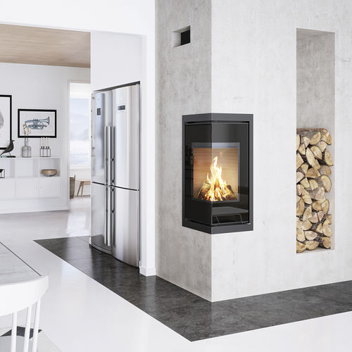 wood heating stove / contemporary / corner / 2-sided