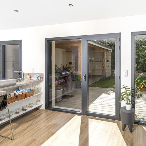tilt-and-turn French door / aluminum / double-glazed / thermally-insulated