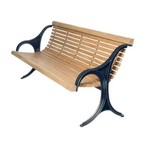 public bench / traditional / wooden / sheet steel