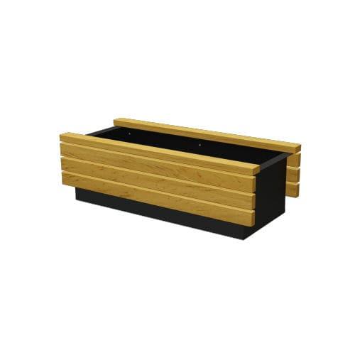 wooden planter / metal / rectangular / contemporary