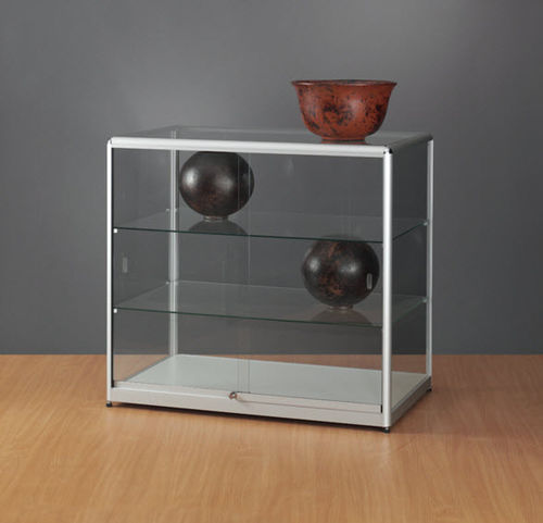 contemporary display case / glass / wooden / anodized aluminum