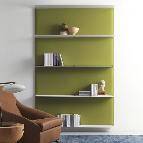wall-mounted shelf / contemporary / powder-coated steel / commercial