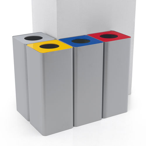 public trash can / powder-coated steel / contemporary / recycling