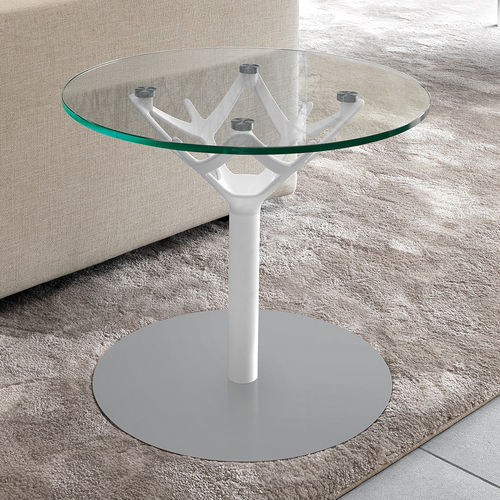 contemporary side table / tempered glass / powder-coated steel / polished stainless steel