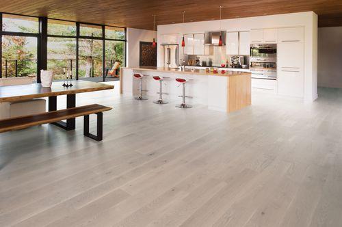 engineered parquet floor / glued / white oak / matte