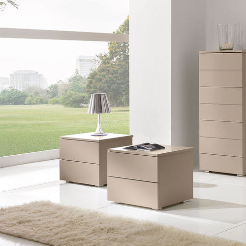 contemporary bedside table / lacquered wood / rectangular / beige