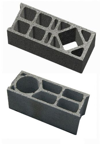 hollow concrete block / for walls / corner / insulated