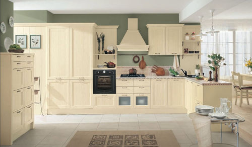 wooden kitchen / with handles / traditional