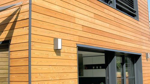 larch cladding / grooved / panel