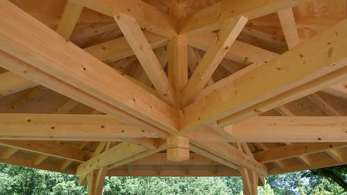 glulam wooden truss / solid