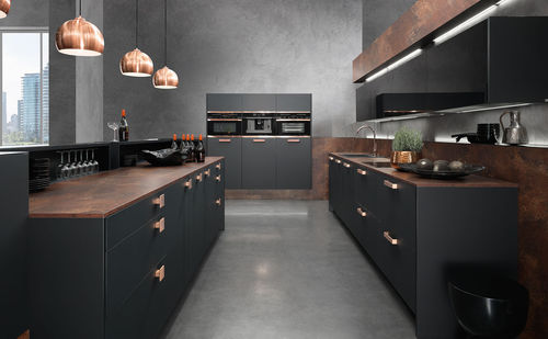 contemporary kitchen / wood veneer / lacquered wood / metal