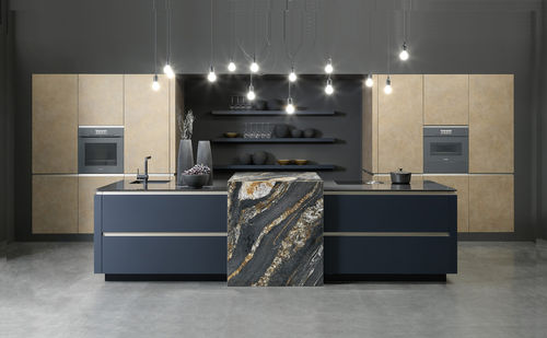 contemporary kitchen / lacquered wood / melamine / island