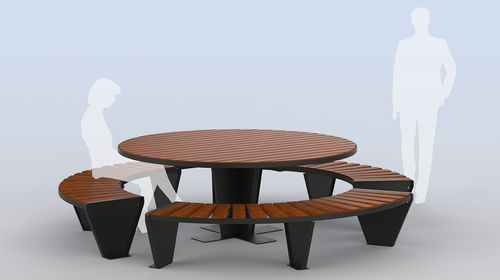 contemporary picnic table / wooden / galvanized steel / round