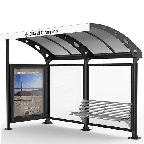 glass bus shelter / galvanized steel