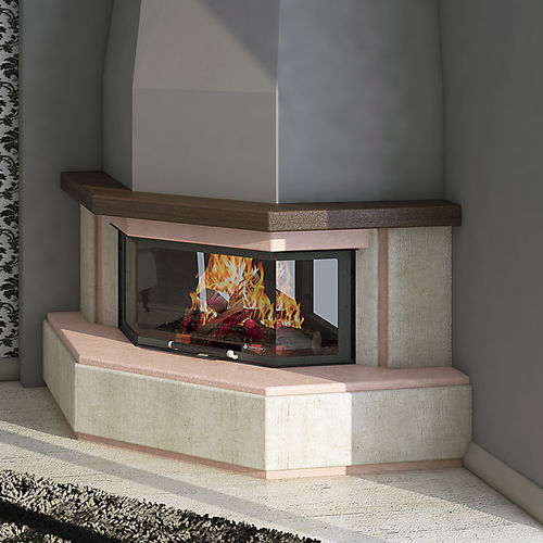 traditional fireplace mantel / cement / corner / 3-sided