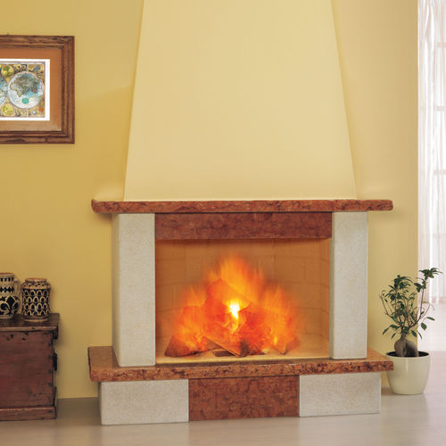 traditional fireplace mantel / stone