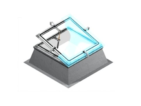 projection roof window / aluminum / double-glazed / fire-rated