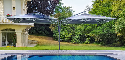 double patio umbrella / commercial / metal / polyester