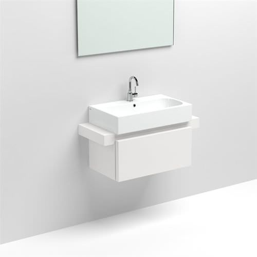 wall-hung washbasin cabinet / melamine / contemporary / with mirror