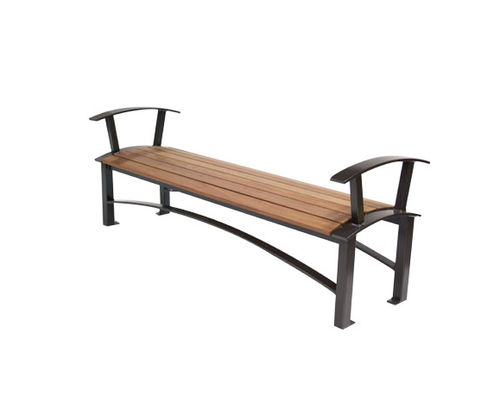 public bench / contemporary / ipe / recycled plastic