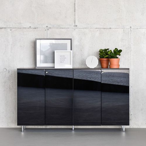 low filing cabinet / wooden / with hinged door / modular
