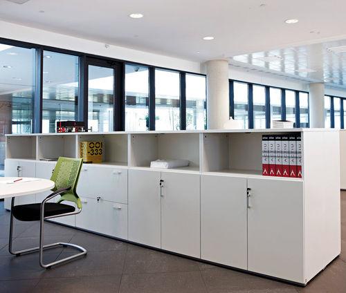 low filing cabinet / tall / wood veneer / melamine