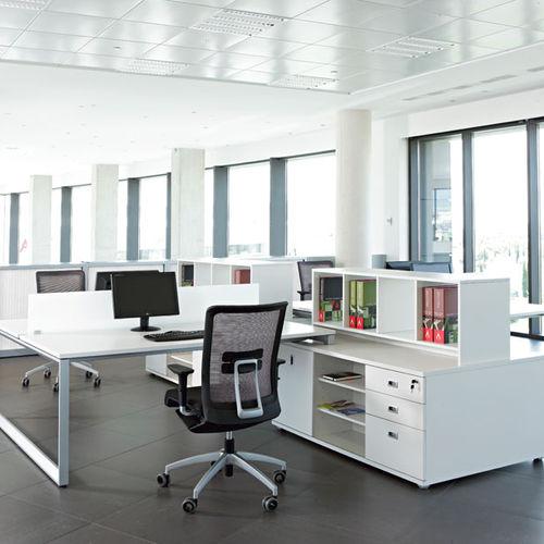 workstation desk / aluminum / melamine / contemporary