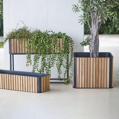 aluminum planter / teak / square / contemporary