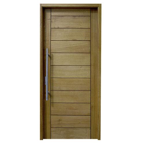 entry door / swing / oak / stainless steel