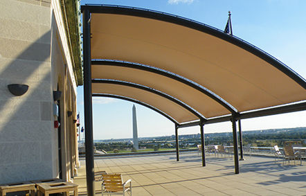Metal frame supported tensile structure / canopy / roof / with glass fiber cone. SKYLINE Fabric Architecture & Metal frame supported tensile structure / canopy / roof / with ...