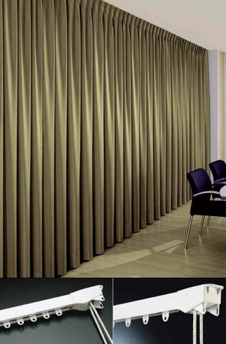 cord-operated curtain track / wall-mounted / for drapes / commercial