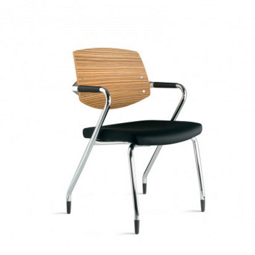contemporary visitor chair / with armrests / stackable / fabric