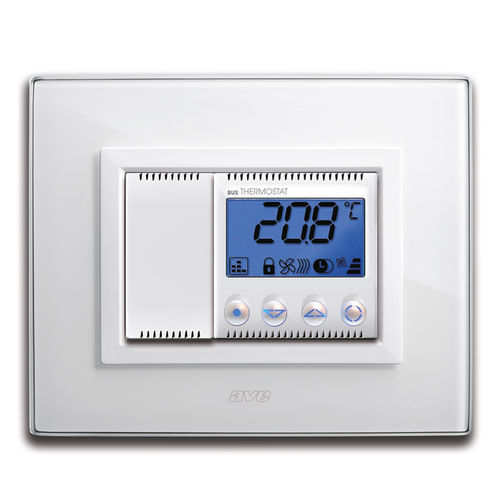electronic thermostat / recessed wall / for heating / for air conditioning