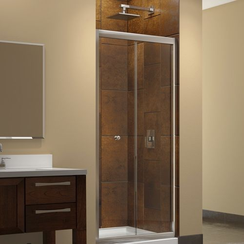 Tempered glass shower / kit / for alcoves / with folding door ...