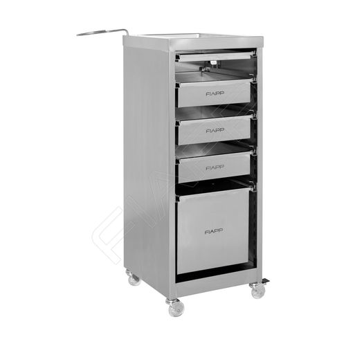 treatment trolley / for hairdressers / stainless steel