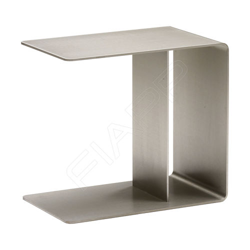 contemporary side table / brushed stainless steel / rectangular / commercial