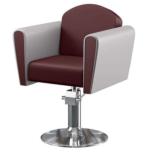 metal beauty salon chair / leather / swivel / central base