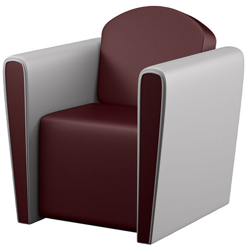 traditional visitor armchair / leather / for hairdressers