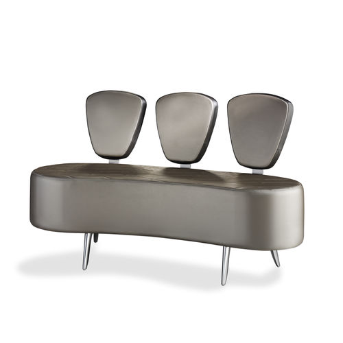 contemporary upholstered bench / leather / for public buildings / with backrest