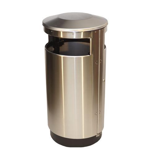 public trash can / floor-standing / steel / sheet steel