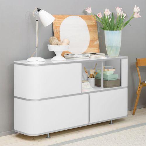 low filing cabinet / aluminum / glass / wood veneer