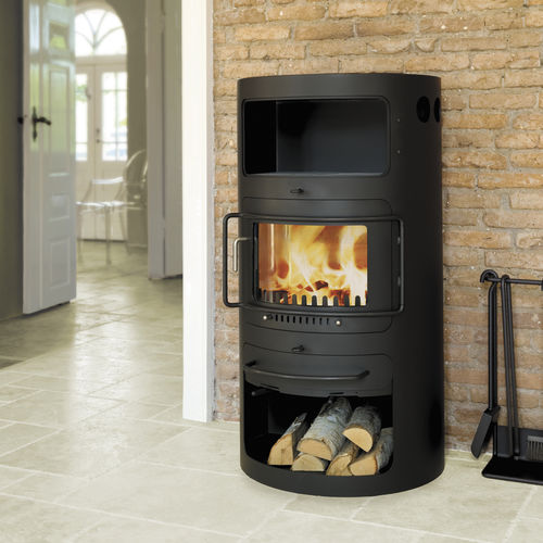 wood heating stove / contemporary / metal / with warmer