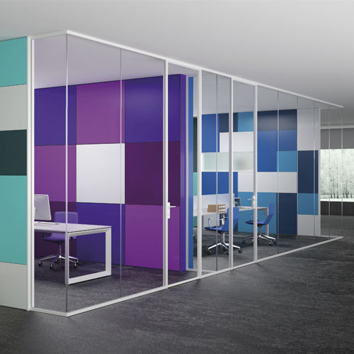removable partition / aluminum / glazed / for offices