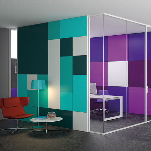 removable partition / wooden / aluminum / glazed
