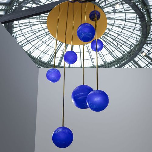 contemporary chandelier / blown glass / polished brass / LED