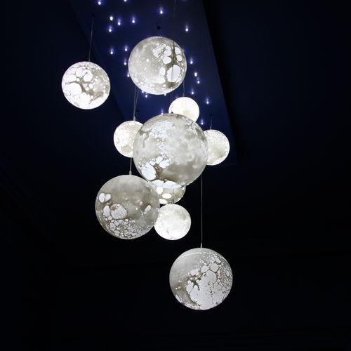 Pendant lamp / contemporary / blown glass / LED LUNES Semeur d'étoiles