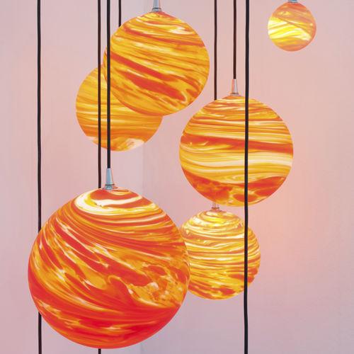 Original design chandelier / blown glass COUCHER DE SOLEIL Semeur d'étoiles
