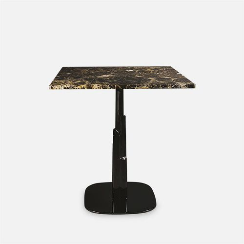 contemporary dining table / chromed metal / marble / round
